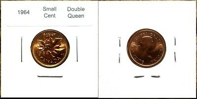 Canada 1964 Small Cents *Double Queen Variety* Gem BU UNC Penny!!