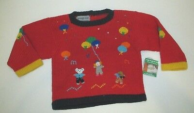 New Nwt Infant Girls Or Boys Gougane Hand Embroidered Red Sweater Size 12 Months