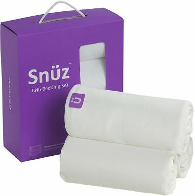 Snuz 3 PIECE BEDDING SET WHITE Fitted Sheets + Blanket