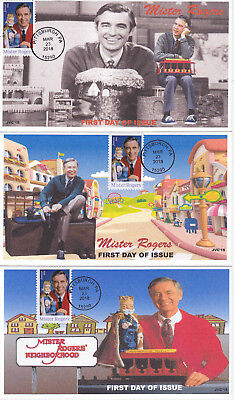 Jvc Cachets-2018 Mister Rogers Issue First Day Cover Fdc Set Of 3 L.e. Of 20 Ea.