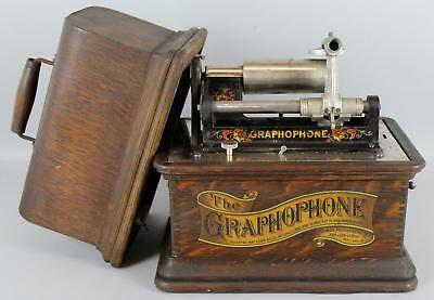 19thC Antique Columbia Cylinder Graphophone Type AT Record Player .. NR