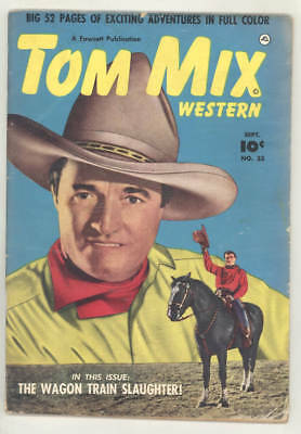 "September 1950 TOM MIX WESTERN #33 Fawcett comic book. ""WAGON TRAIN SAUGHTER!"""
