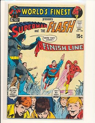 World's Finest Comics # 199 - 3rd Superman/Flash race & Neal Adams cover VG Cond