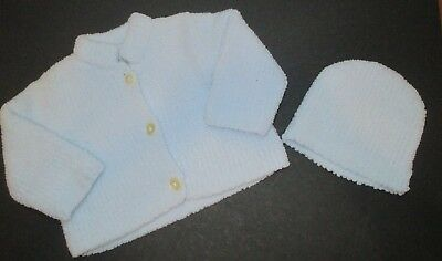 Boys Angel Dear Light Blue Microfiber Cardigan Sweater & Hat Size 18-24 Months