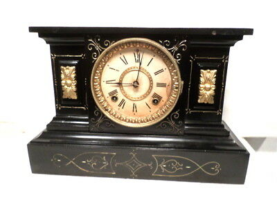 Ansonia Nicely Designed 1882 Cast Iron Mantle Clock--Made in New York