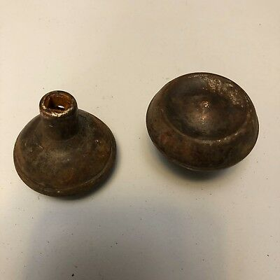 ANTIQUE VINTAGE Pair of ORNATE Steel DOOR KNOBS