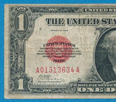 $1.00  Fr.1500 1928 Red Seal Legal Tender  Funny Back  Average Circulated