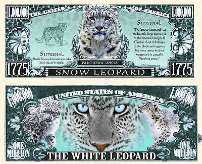 SNOW LEOPARD Novelty Dollar Bill with  semi rigid protector and Free Shipping