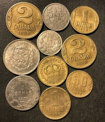 Old Yugoslavia Coin Lot - 1920-1938 - 10 Great Coins - Lot #915