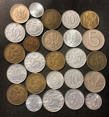 Old Czechoslovakia Coin Lot - 1922-Cold War - 26 Great Coins - Lot #915