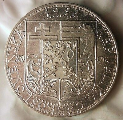 1933 CZECHOSLOVAKIA 20 KORUN - AU/UNC - Uncommon Silver Crown Coin - Lot #915