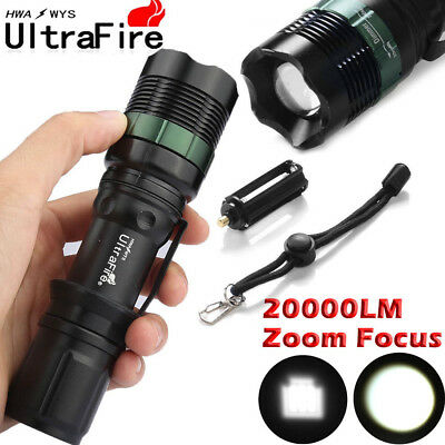 Ultrafire Torch 20000LM Zoomable T6 LED Flashlight Super Bright Light Fit 18650.