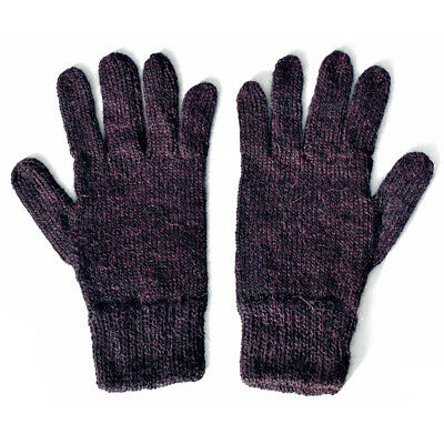 100% Alpaca Wool Knit Gloves Flecked Purple Large ~ Women Men Accessories