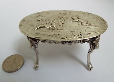 Beautiful English Antique 1895 Miniature Solid Sterling Silver Parlour Table