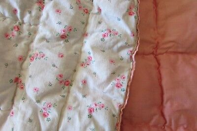 French vintage childs babies pink sateen ditsy floral print boutis quilt c1930s