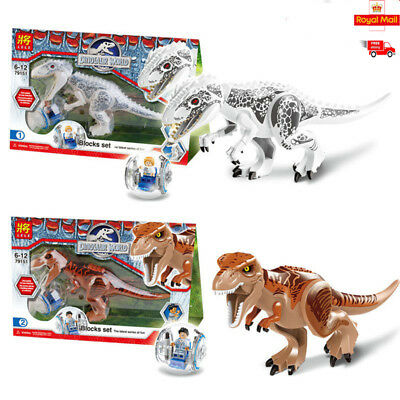 2pcs Indominus Rex Jurassic Large Dinosaur 28X17 Figure Blocks Fit Lego Toys Set