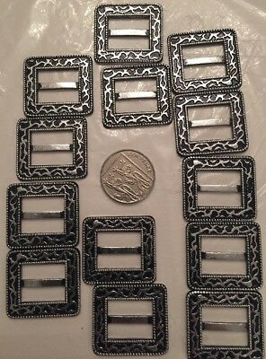 Craft Clearout,Joblot 13 Large Tri Sliders Ribbon Buckles Ornate Silver