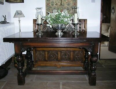 Antique Oak Refectory Table Large Extending Gothic Jacobean