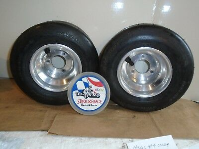 Vintage Racing Go Kart Nos Dunlop Sl3 10X4.50-5 + Wheels Cart Part X2