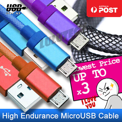 2x 3x Micro USB Data Braided Fast Charging Cable Cord Lead for Samsung Andriod