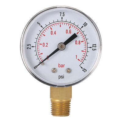 Mini Low Pressure Gauge For Fuel Air Oil Or Water 50mm 0-15 PSI 0-1 Bar RY