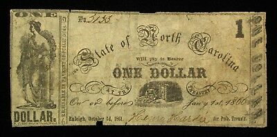 1866 $1 State Of North Carolina Obsolete Note * US Paper Money