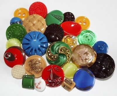 27 old/vintage colourful glass buttons in a mix of styles + sizes, some art deco