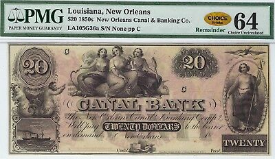 LA-105 G-36a $20.00 Louisiana Obsolete Note 1850s - PMG Choice Uncirculated 64!!