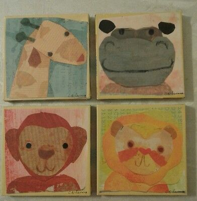 """Oopsy Daisy fine art for kids, wrapped canvas, 7x7"""" Maria Carluccio, 4 animals"""