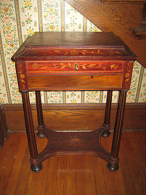 Antique Side/End Table Inlaid Lift Top Table