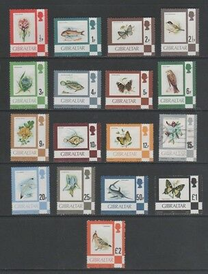 Gibraltar 1977 Mostly Mint MH Part Set to £2, Birds, Flowers, Fish, Butterflies