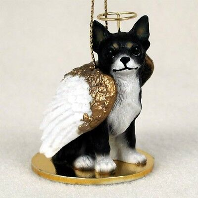 B&W CHIHUAHUA DOG ANGEL Ornament HAND PAINTED Resin FIGURINE COLLECTIBLE puppy