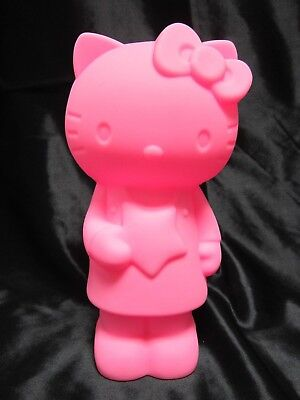 Hello Kitty Pink Neon Rubbery Toy Doll Travel Purse With Zipper Storage Pocket