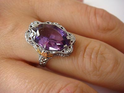 Antique Large Amethyst Filigree Ladies Ring 10K White Gold 2.6 Grams, Size 6.25
