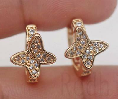 18K Gold Filled - White Zircon Butterfly Wing Gems Pageant Women Hoop Earrings