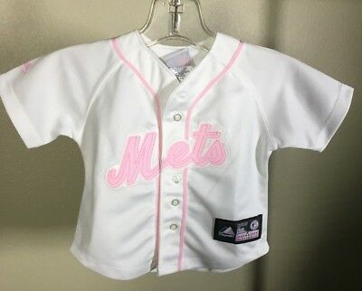 Majestic New York Mets Pink White Sewn Baseball Jersey Toddler Baby Girls 18M