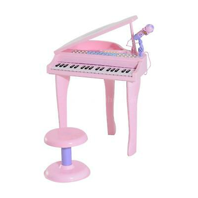 37 Key Kids Miniature Pink Grand Digital Piano with Microphone and Stool B9L2