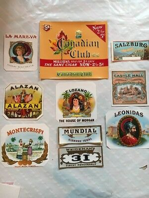 Vintage Cigar Box Labels Large Unused Collection Of 10 Embossed