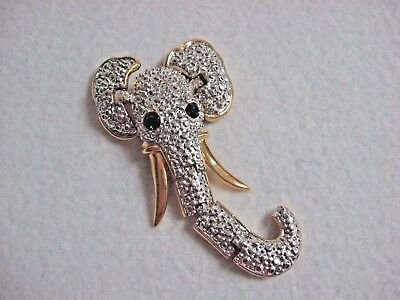 NEW gold toned ELEPHANT brooch/ pin Crystal Rhinestone moving ears trunk