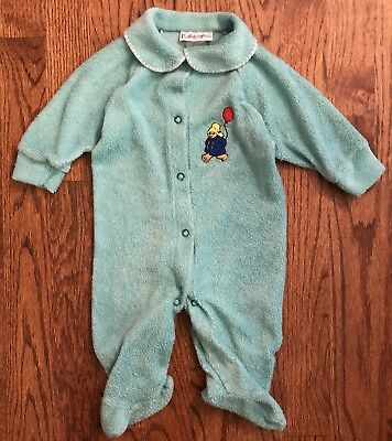 Vtg Paddington Bear Green Terrycloth Footie One-Piece Sleeper Pajamas 6-9m
