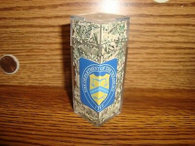 U.S.A Shredded CASH Money,Currency in Acrylic,Plastic Display Cube CONFETTI Size