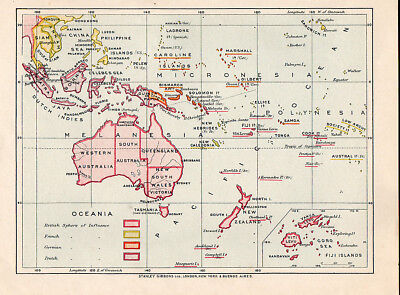 Pre WW1 Political Map of Australasia, Pacific Ocean & South East Asia.