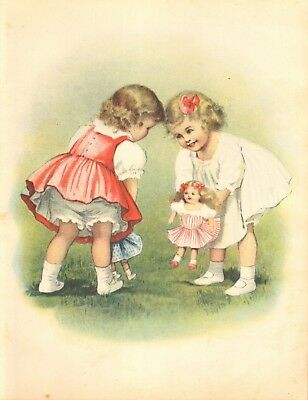 Two Little Girls Playing With Dolls Print By Alice Beach Winter- Original