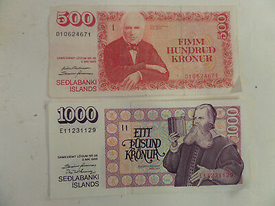 Iceland 1986 1000 and 500 Kronur Note, 1500 total  Circulated