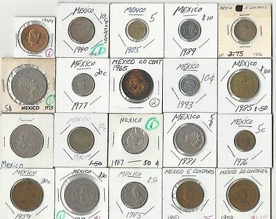 Mexico. Vintage Lot Of 20 Assorted Mexican Coins. See Pics