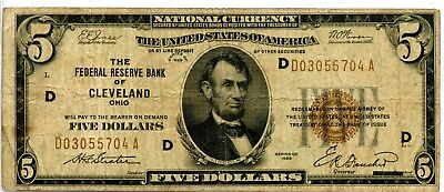 Impressive 1929 United States National Currency $5 - Bank Note Ei533