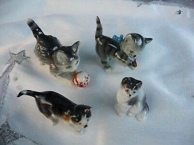 4 CHATS EN PORCELAINE COLLECTION FIGURINE ANIMAUX Germany