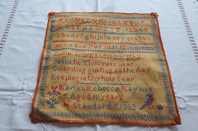 Antique Sampler 1882 - Maria Rebecca Raymer Aged 10 Years - Cross Stich