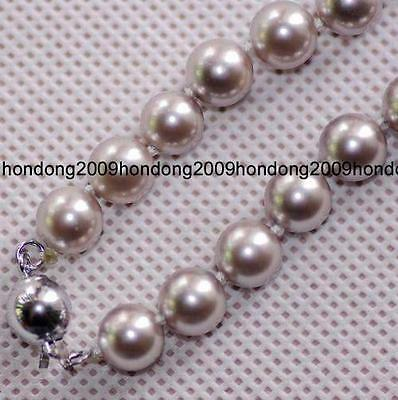 beautiful 8mm Gray south Sea Shell Gem necklace 18'' AAA