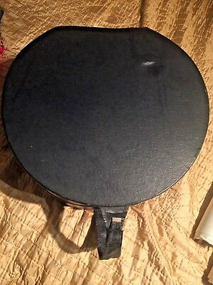 Vintage Navy Blue Hat Box Drum Shape Carry Case